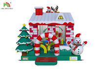 Red & White Color Inflatable Christmas Bouncy Castle House With Christmas Tree For Business