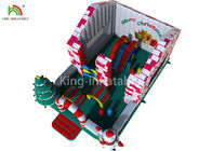 Red / White Color Inflatable Bouncy Castle House With Christmas Tree For Business