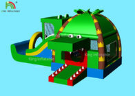 China Indoor Inflatable Park Obstacle Course Jumping Castle Green Crocodile , Coconut  Forest - Themed Blend factory