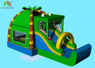 Indoor Inflatable Park Obstacle Course Jumping Castle Green Crocodile , Coconut  Forest - Themed Blend