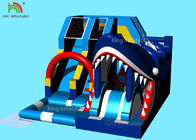 Blue Sharp Model Inflatable Slide Bouncer With  Logo Printing 6*5*3.7 M