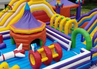 Outdoor 20mL Yellow Rocket Inflatable Amusement Park For Kids Use Logo Printing