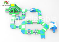 Customized Blue 29m Inflatable Water Park / Inflatable Floating Aqua Water Park For Adults