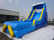 China Giant Outdoor Yellow Inflatable Water slide With Pool / Commercial Water Park For Kids factory