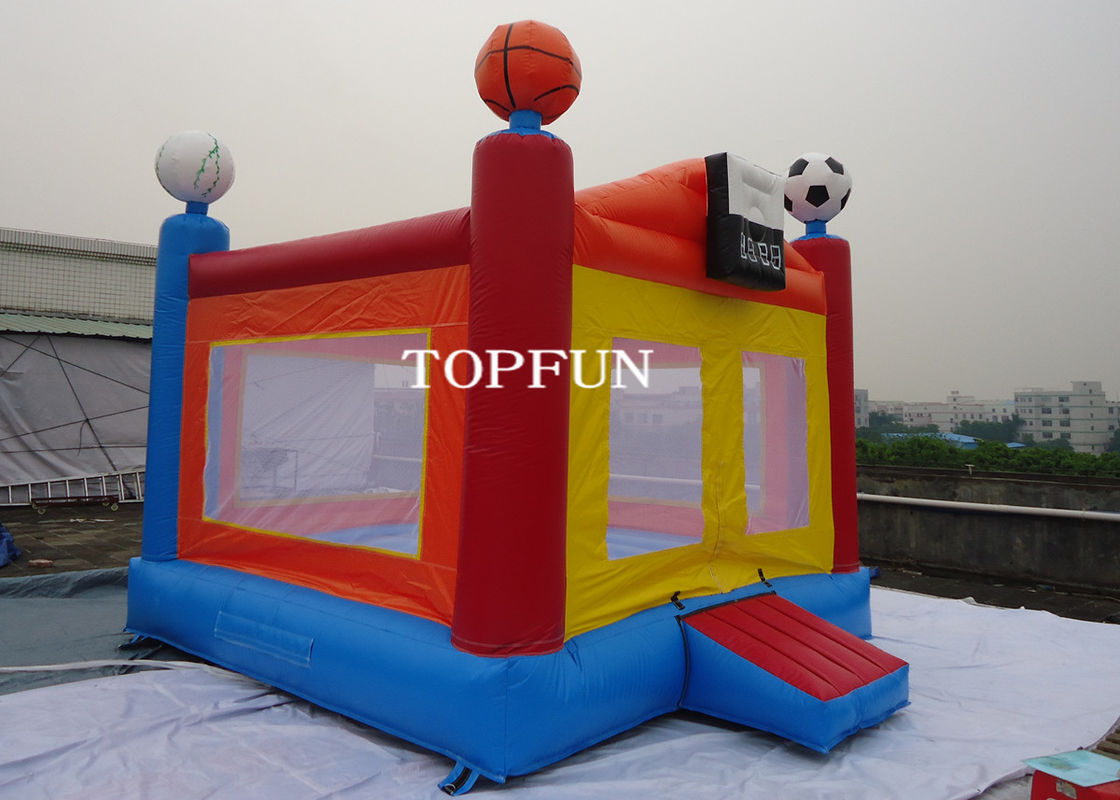 Funny PVC Tarpaulin Kids Jumping Castle Inflatable Bouncy House With Football