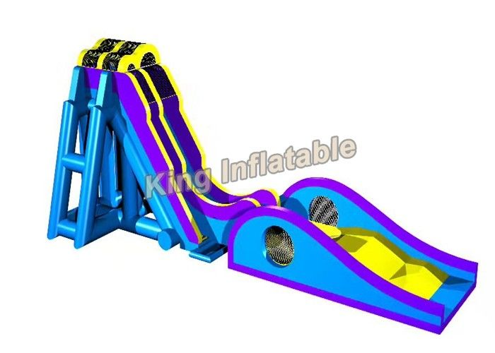 Blue / Yellow Inflatable Water Slide Games Commercial 12 * 4m For Beach