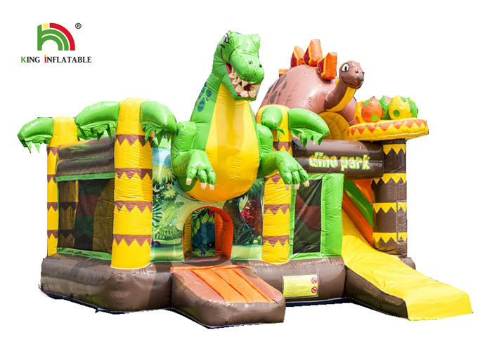 Customized Size Dinosaurs Inflatable Bounce House / Toddler Bouncy Castle With Slide