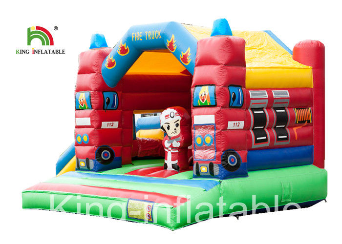 Slide Type Fire Truck Trampoline Inflatable Jumping Castle For Indoor Kids