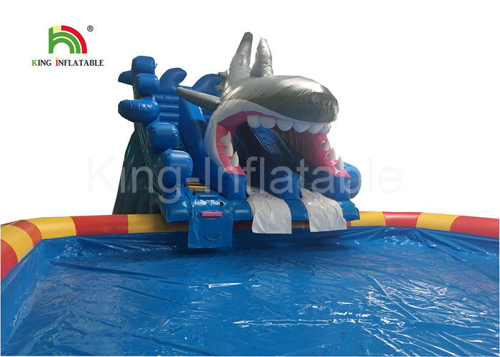 Grey Megalodon Adult & Kids Inflatable Water Parks With Slide For Outdoor