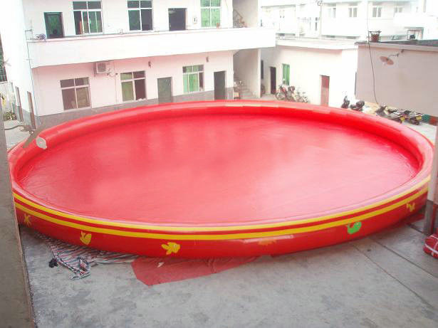 Red pvc round inflatable swimming pool portable water for Plastik pool rund