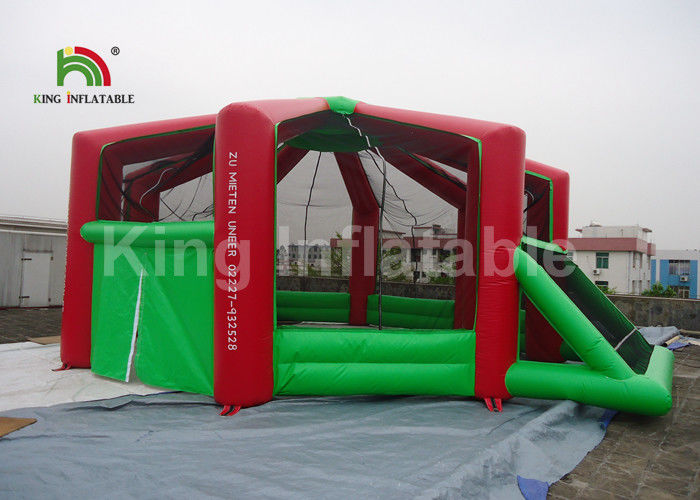 Customized Rent Red Indoor Inflatable Football Arena For Adults Anti - Crack / Anti - Skid