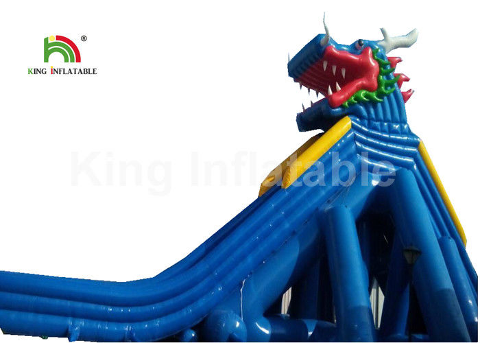Dragon Stype Blue Large Inflatable Water Slide For Adults In Aquatic Park