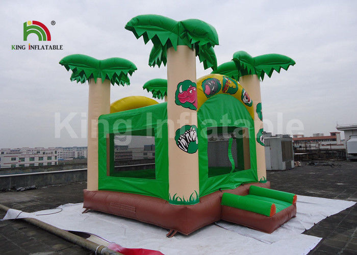 5x4.5m Green Coconut Tree Kids Inflatable Jumping Castle / Blow Up Bounce House