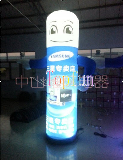 CE / UL Blower Inflatable Human Carton Balloon / LED lighting giant advertising balloon