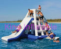 0.9mm Plato Blue / White Blow Up Water Toy Floating Aqua Slide For Water Park With CE
