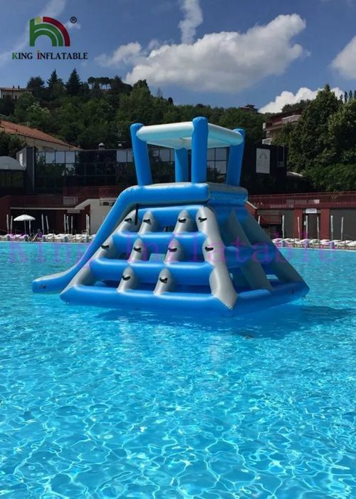 Professional Blue White Inflatable Water Toys Climbing Tower Slide With Roof