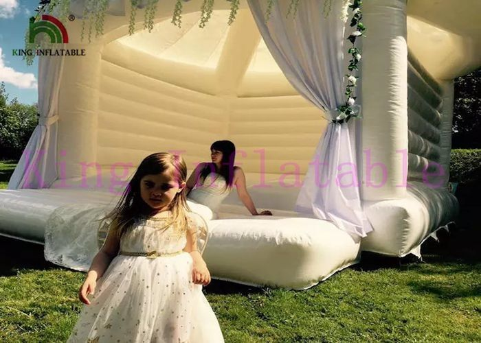 0.4mm PVC / Oxford Fabric White Inflatable Wedding Tent / Inflatable Outdoor Tent With CE Blower