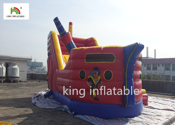 6m Sea Rover Red Inflatable Bounce House Pirates Galleon With Slide