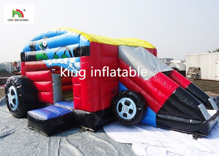 Car Style Inflatable Jumping Castle With Step For Boys Customized Size