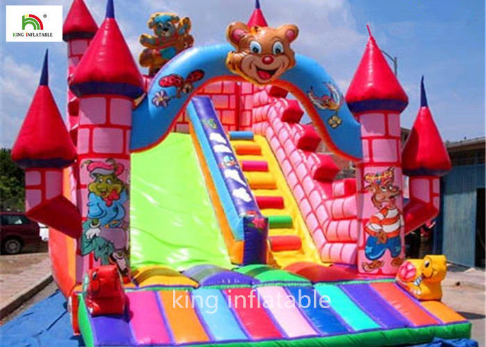 5m Cartoon Inflatable Bouncy Castle With Silk Printing Fire - Retardant