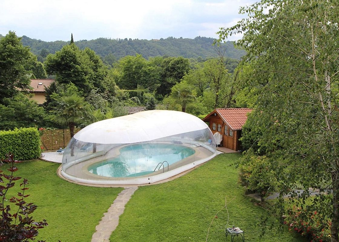 8m Commercial Grade Inflatable Bubble Tent / Transparent Swimming Pool Dome Cover