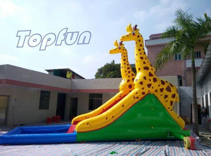 Inflatable Inground Pool Slide safety handles carambole inflatable water slide with inground pool