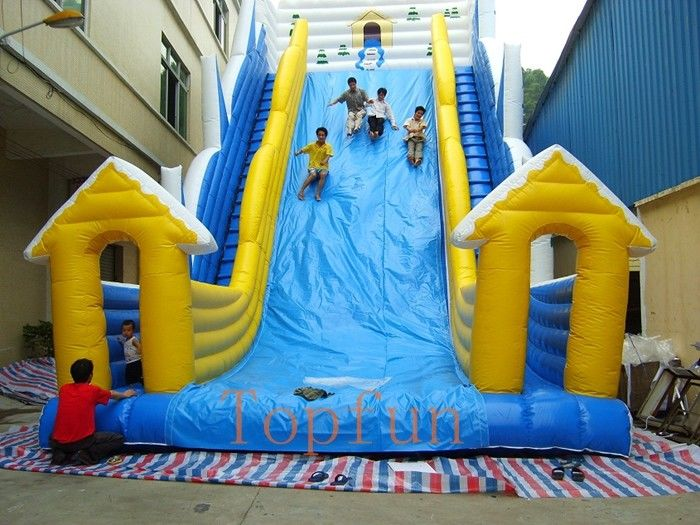 12 X 8m Blue Yellow Water Slide Games Commercial Double Stitching