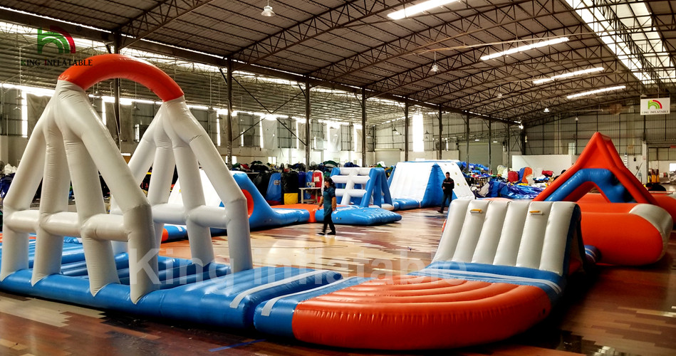 Waterproof Inflatable Water Park / Aquatic Park Playground With Trampoline For Rent