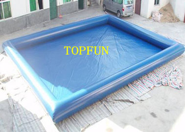 China Single Pipe 10 x 6 m Blue Inflatable Water Pool For Kids With Water Roller factory