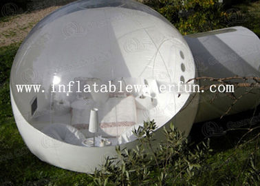 Semi Transparent Inflatable Bubble Tent With Two White Tunnel , 5 M Diameter