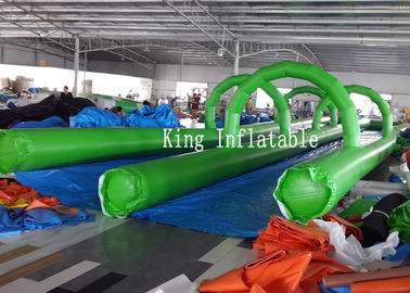 PVC Tarpaulin Inflatable Slip Slide 300m Long Double Lanes Inflatable Water City