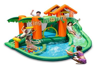 China Tropical Play Center Jump Castle / Inflatable Water Slide For Kids In Summer factory