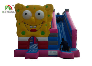 Pink Spongebob House Inflatable Jumping Castle With Square Pants And Side