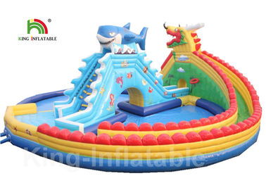 PVC 30 * 20m Blue Adult Giant Dragon Inflatable Water Parks With Logo Customized