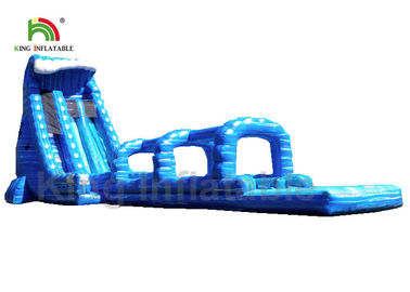 China Blue Single Lane Outdoor Inflatable Water Slide For Adult Customized 15 * 5m EN71 factory