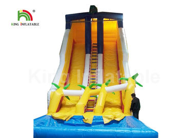 Dual Lane Yellow 32.81ft Backyard Water Slides For Adults With Coconut Tree And Pool