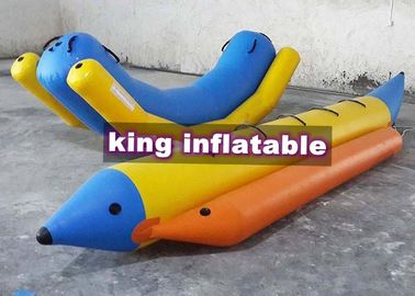 Durable Yellow / Blue Inflatable Seesaw Totter PVC Water Toy With Banana Boat