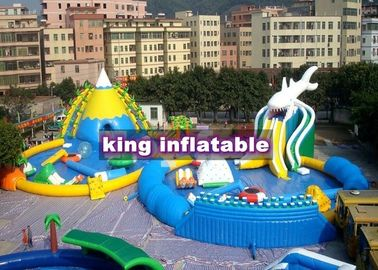 9*8m Colorful Shark Inflatable Water Slide With Pool Commercial Water Park For Kids