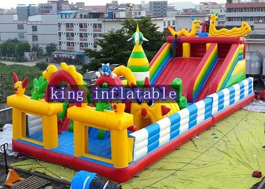 Funny Outdoor Inflatable Amusement Park With Slide / Castle And Climb