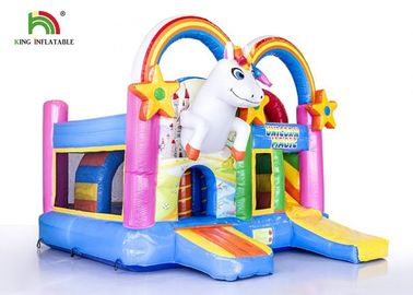 Commercial Outdoor 4 In 1 Unicorn  Inflatable Jumping Castle / Blow Up Bouncer
