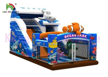Digital Print Vivid Ocean Park Theme PVC Inflatable Dry Slide With CE Approved Blower