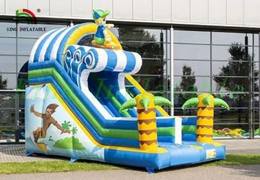 Tropical Inflatable Dry Slide , Surfing Happy Boy PVC Slide For Kids
