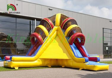 Triple Lanes Volcano PVC Inflatable Dry Slide With 24 Months Guarantee