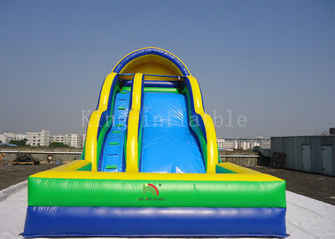 Toddler Inflatable Water Slide Customized 0.55mm PVC Tarpaulin Double Lanes