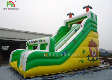 China Yellow / Green Coconut Tree Blow Up Dry Slide Cold - Resistant And Durable factory