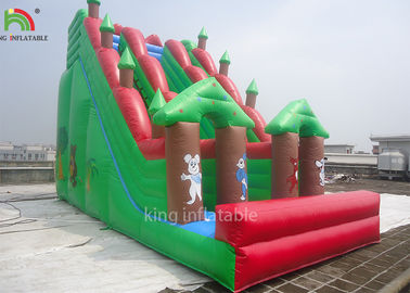 China Double Sewing Inflatable Dry Slide Green Forest Theme EN14960 CE EN71 factory