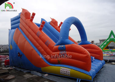 China Red Blue PVC Tarpualin Inflatable Dry Slide Puncture - Proof For Kindergarten factory