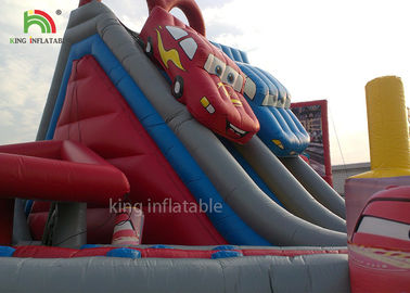 China Red Car Cartoon Inflatable Dry Slide Double Lanes For Boys / Kids Outdoor Playground factory