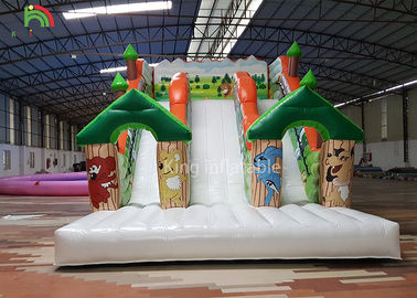 China Forest Theme Inflatable Dry Slide Green Tree Kids Playground For Commercial Rental factory