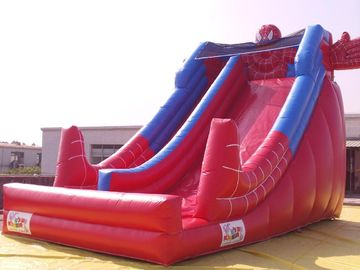 China Red Color PVC Inflatable Water Slide With Pool In Front Of / Spiderman Slides For kids factory